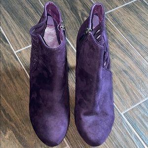 Lane Bryant suede purple booties
